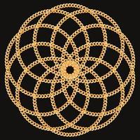 Padrão redondo feito com correntes de ouro. No preto. Ilustração vetorial