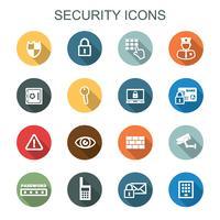 ícones de longa sombra de segurança vetor