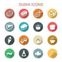 ícones de sombra longa sushi