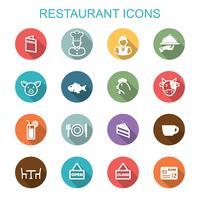 ícones de longa sombra de restaurante vetor