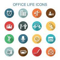 ícones de sombra longa vida de escritório
