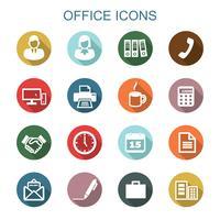 ícones de longa sombra de escritório