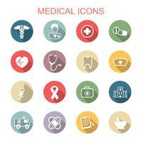 ícones de longa sombra médica vetor
