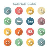 ícones de longa sombra de ciência