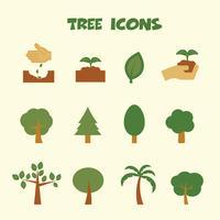 ícones de cores de árvores
