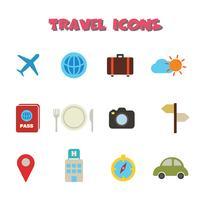ícones de cor de viagem vetor