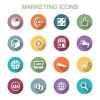 ícones de sombra longa de marketing