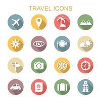 ícones de longa sombra de viagem vetor