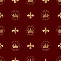 Padrão sem emenda Coroas e símbolos da realeza. Fundo para suas idéias. Vetor