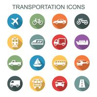 ícones de longa sombra de transporte vetor