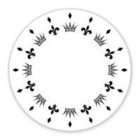 Círculo decorativo decorado com símbolos, coroas. Pode ser usado como moldura, etiqueta, tag, decoração. Vetor