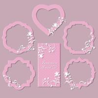 Um conjunto de quadros, cartões para celebração. Pode ser usado para casamento, aniversário, aniversário. Belo design. vetor