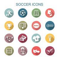 ícones de sombra longa de futebol vetor