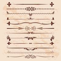 Grande conjunto de divisores. Elementos de design caligráfico de vetor e decoração de página