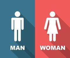 homem e mulher longa sombra plana vetor