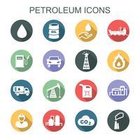 ícones de sombra longa do petróleo vetor