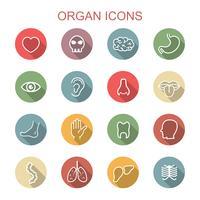 ícones de sombra longa de órgão