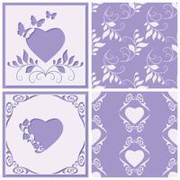 Corte o quadro de papel em forma de coração. Dois padrão sem emenda para qualquer projeto. Ilustração vetorial