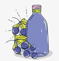 Desenhos animados de suco de fruta uvas vetor