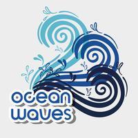 ondas do mar com design de formas agradáveis vetor