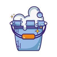 balde de roupa com bolhas de detergente para limpar vetor