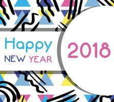 feliz ano novo celebração sobre fundo de figuras vetor
