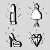 conjunto de moda design de patches de moda vetor