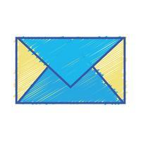 cartão de cor carta fechada com informação de mensagem vetor