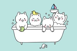 Vetor bonito do banho dos gatos dos desenhos animados.
