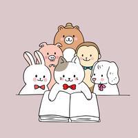 Vetor bonito do livro de leitura dos animais dos desenhos animados.