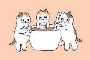 Gatos bonitos dos desenhos animados e vetor do copo de café.