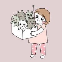 Vetor bonito da menina e dos gatos dos desenhos animados.