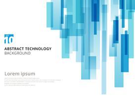 Os quadrados geométricos sobrepostos verticais abstratos da tecnologia dão forma à cor azul no fundo branco com espaço da cópia. vetor