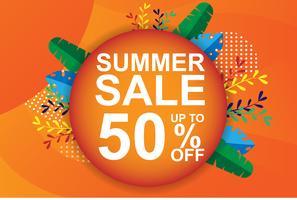 Banner de venda de verão, tag, web. Brochura e comprovante de laranja. Promoção de desconto de férias e conceito de preço especial. Palm tropical moderno, folha de bananeira. projeto da ilustração do vetor.