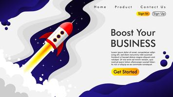 Web design e página de aterrissagem com um foguete Vetor grátis