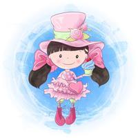 Desenho de mão de menina bonito dos desenhos animados. Ilustração vetorial vetor