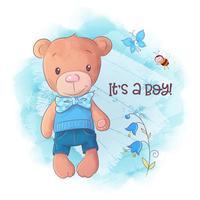Urso bonito dos desenhos animados mão desenhada ilustração vetorial