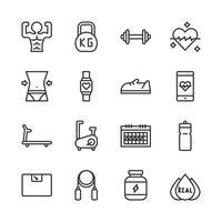Conjunto de ícones relacionados de aptidão. Ilustração vetorial