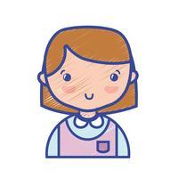 menina casual com penteado e blusa uniforme vetor