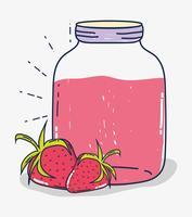 Desenhos animados de suco de frutas morangos vetor