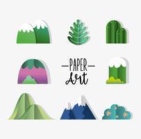 Conjunto de ícones de arte de papel vetor