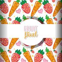 Fundo de pixel de fruta vetor