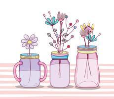 Buquê de flores em vaso jarra mason vetor
