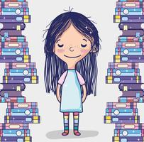 Linda garota com livros vetor