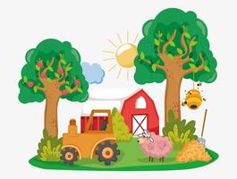 Desenhos animados bonitos da fazenda vetor