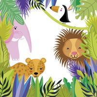 Desenhos animados bonitos dos animais dos animais selvagens vetor