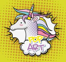 Unicórnio pop art vetor