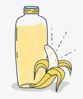Desenhos animados de suco de fruta de banana vetor