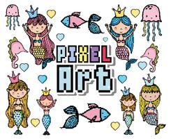 Desenhos animados do mundo aquático de pixel art