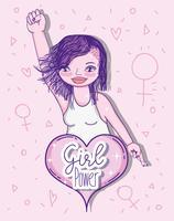 Desenhos animados do poder da menina vetor